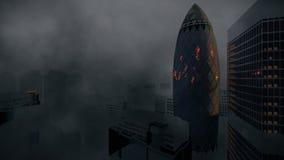 La tormenta de Londres con los relámpagos que revelan el pepinillo, reaseguro suizo establece jefatura, criticando 4K stock de ilustración