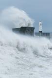 La tormenta Gertrudis golpea Porthcawl, el Sur de Gales, Reino Unido Imagenes de archivo