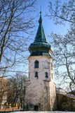 La torre blanca de piedra más vieja de Vyborg fotos de archivo libres de regalías
