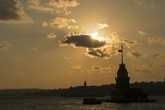 La torre a Costantinopoli, la torre della ragazza di TurkeyMaiden a Costantinopoli, Turchia Immagini Stock Libere da Diritti