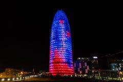 La torre de Agbar de las glorias de Torre de Barcelona fotografía de archivo libre de regalías