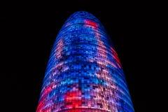 La torre de Agbar de las glorias de Torre de Barcelona foto de archivo