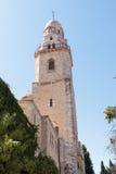 La torre de David sobre la tumba de rey David en la abadía de Dormition en la ciudad vieja de Jerusalén, Israel Foto de archivo libre de regalías