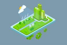 La torre de energía solar de la turbina de viento del panel de la estación verde recicla la batería 3d de la tecnología isométric libre illustration