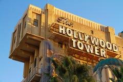 La torre de la zona crepuscular del hotel de la torre de Hollywood del terror fotos de archivo