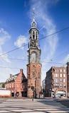 La torre de Munt con la trayectoria de la cebra en el frente, Amsterdam, Países Bajos Imagen de archivo libre de regalías