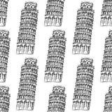 La torre de Pisa del bosquejo, vector el modelo inconsútil Imagen de archivo libre de regalías