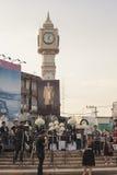 La torre de reloj de Phitsanulok la ceremonia para conmemorar al rey Fotografía de archivo libre de regalías