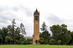 La torre de reloj del campanil en la universidad de estado de Iowa Fotografía de archivo