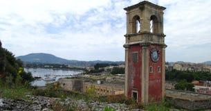 La torre de reloj en la fortaleza vieja, Corfú Foto de archivo libre de regalías