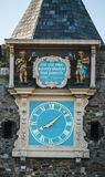 La torre de reloj maravillosamente preservada de la iglesia en la ciudad antigua famosa de Rye en Sussex del este, Inglaterra Foto de archivo libre de regalías