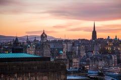 La torre del hub e la st Giles Cathedral, tramonto Fotografia Stock Libera da Diritti