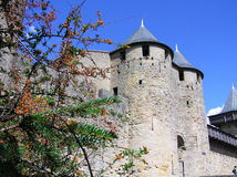 La torre della città fortificata storica di Carcassonne Fotografie Stock Libere da Diritti