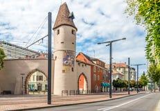 La torre di Bollwerk - vecchie fortificazioni di Mulhouse Immagine Stock Libera da Diritti