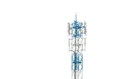 La torre di comunicazione in Tailandia ha isolato su bianco Immagine Stock