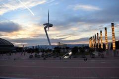 La torre di comunicazioni di Montjuïc - Torre Calatrava - Barcellona fotografia stock