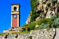 La torre di orologio di vecchia fortezza nella città di Corfù Fotografie Stock