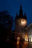 La torre di orologio, punto di riferimento di Sighisoara Fotografie Stock Libere da Diritti