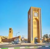 La torre di orologio di Yazd Immagine Stock