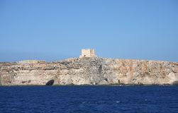 La torre di St Mary, isola di Comino Fotografia Stock Libera da Diritti