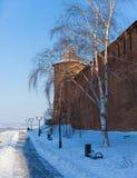 La torre e la parete del Cremlino di Nižnij Novgorod Immagini Stock