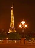 La Torre Eiffel alla notte Fotografia Stock Libera da Diritti