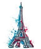La torre Eiffel con l'estratto spruzza nello stile dell'acquerello Immagini Stock Libere da Diritti