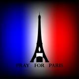 La torre Eiffel con la vela blanco y negro y el texto ruegan para París Imagenes de archivo