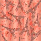 La torre Eiffel del bosquejo, vector el modelo inconsútil Fotografía de archivo