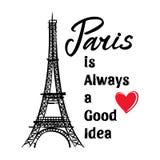 La torre Eiffel, los corazones y la frase París es siempre buena idea stock de ilustración