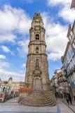 La torre iconica di Clerigos della città di Oporto, Portogallo Fotografie Stock Libere da Diritti