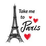 La torre, los corazones y la frase de Francia-Eiffel del símbolo me llevan a París ilustración del vector