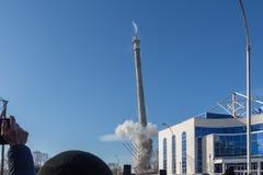 La torre non finita della TV a Ekaterinburg in Russia è stata fatta esplodere 03/24/2018 Immagini Stock Libere da Diritti