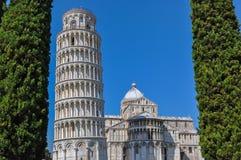 La torre pendente di Pisa, cattedrale di Pisa, Italia Fotografie Stock Libere da Diritti
