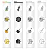 La torre pendente di Pisa, pasta italiana, mandolino, un attributo di cattolicesimo Icone stabilite della raccolta dell'Italia ne illustrazione vettoriale