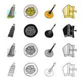 La torre pendente di Pisa, pasta italiana, mandolino, un attributo di cattolicesimo Icone stabilite della raccolta dell'Italia ne illustrazione di stock