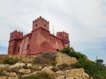La torre rossa a Malta fotografie stock libere da diritti