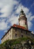 La torre rotonda, castello di Krumlov Fotografie Stock