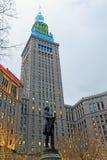 La torre terminal del hito histórico en la arena pública en Cleveland, Ohio, los E.E.U.U. imagenes de archivo