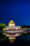 La torrecilla de la ciudad Prohibida en la oscuridad en Pekín, China Imágenes de archivo libres de regalías