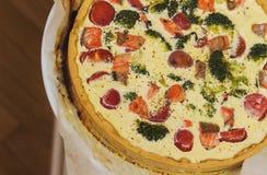 La torta con los mariscos Imagen de archivo libre de regalías