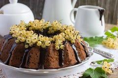 La torta de chocolate adornó el esmalte del chocolate y la pasa blanca Fotografía de archivo
