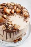 La torta de chocolate con el dulce de azúcar lloviznó formación de hielo y los rizos y pan de jengibre Imagen de archivo