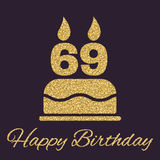 La torta de cumpleaños con las velas bajo la forma de icono del número 69 símbolo del cumpleaños Chispas y brillo del oro Fotografía de archivo
