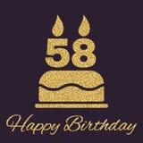 La torta de cumpleaños con las velas bajo la forma de icono del número 58 símbolo del cumpleaños Chispas y brillo del oro Fotografía de archivo libre de regalías
