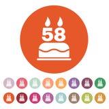 La torta de cumpleaños con las velas bajo la forma de icono del número 58 símbolo del cumpleaños plano Imágenes de archivo libres de regalías