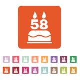 La torta de cumpleaños con las velas bajo la forma de icono del número 58 símbolo del cumpleaños plano Fotografía de archivo