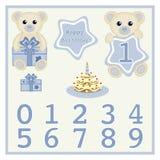 La torta de cumpleaños del carte cadeaux de la tarjeta de cumpleaños del bebé y el bebé lindo del vector de la vela lleva el ejem Fotos de archivo libres de regalías