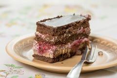 La torta de la fruta con el chocolate sirvió en la placa Imagen de archivo libre de regalías