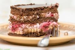 La torta de la fruta con el chocolate sirvió en la placa con la bifurcación en ella Imagen de archivo